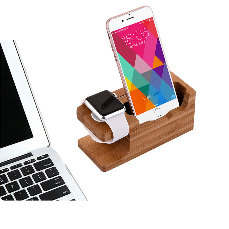 Original Design Bamboo Soild Wood <font><b>Charge</b></font> Function <font><b>Phone</b></font> Holders for Apple Watch iphone 5 6 7 Plus Desk Mobile <font><b>Phone</b></font> <font><b>Stands</b></font>