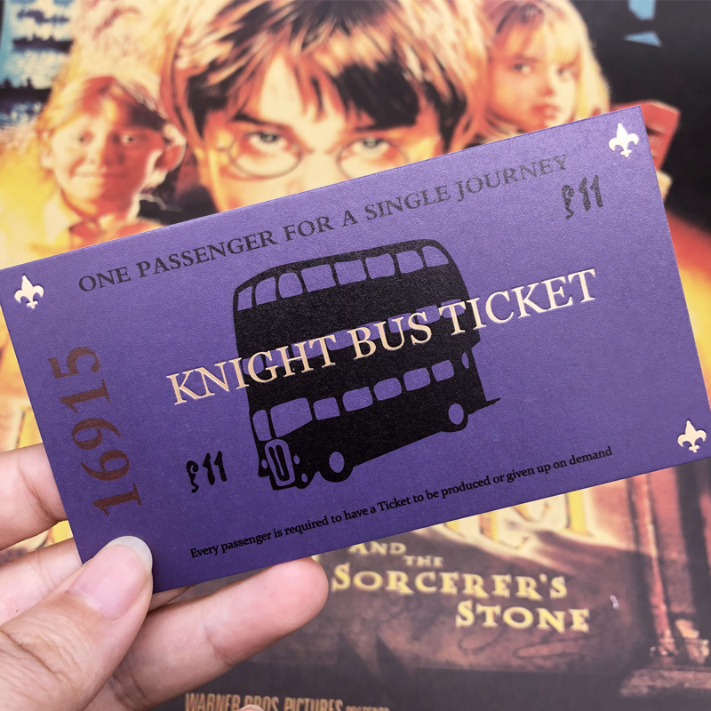 Harry Wizarding Purple Bus Ticket Knight Bus Ticket 100% Screen (Movie) Accurate   HP Movie Prop Limited Supply