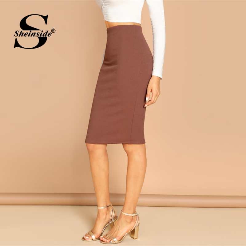 Image 3 - Sheinside Elegant Coffee Bodycon Midi Skirt Women 2019 Spring Mid Waist Pencil Skirts Office Ladies Workwear Solid Skirt-in Skirts from Women's Clothing