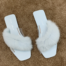 Fur Slippers Women Shoes Slides Home Furry Flat Sandals Female Cute Fluffy House Woman Luxury Transparent