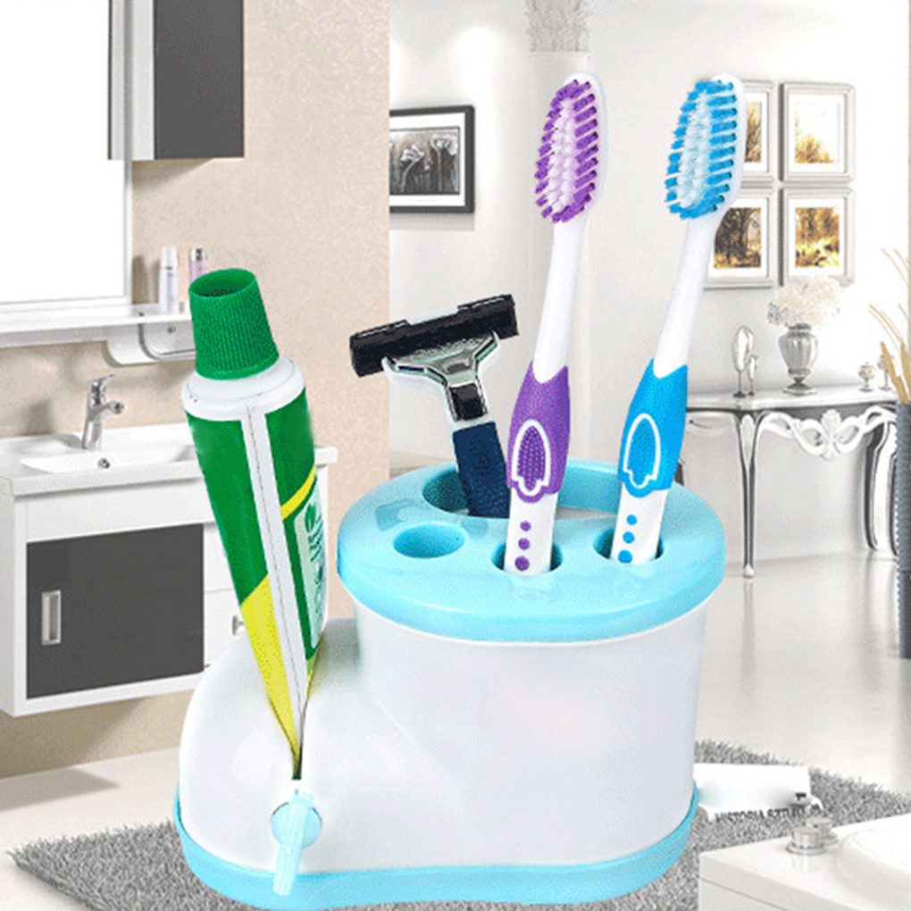 New Toothbrush Holder with Toothpaste Squeezer Dispenser Cute Boots Shape Toothpaste Tooth Brush Bracket for Family image
