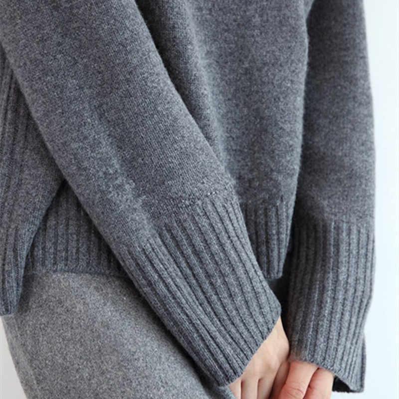 Lafarvie 2019 새로운 캐시미어 혼합 니트 스웨터 여성 탑 터틀넥 가을 겨울 여성 풀오버 루즈 캐주얼 따뜻한 스웨터