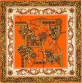 Новая Осень Мода Дворец Цветочные Цепи Leopard Печать Чистого Саржевого Шелка 100 см Квадратный Шарф Люксовый Бренд Шаль Шарфы Платки