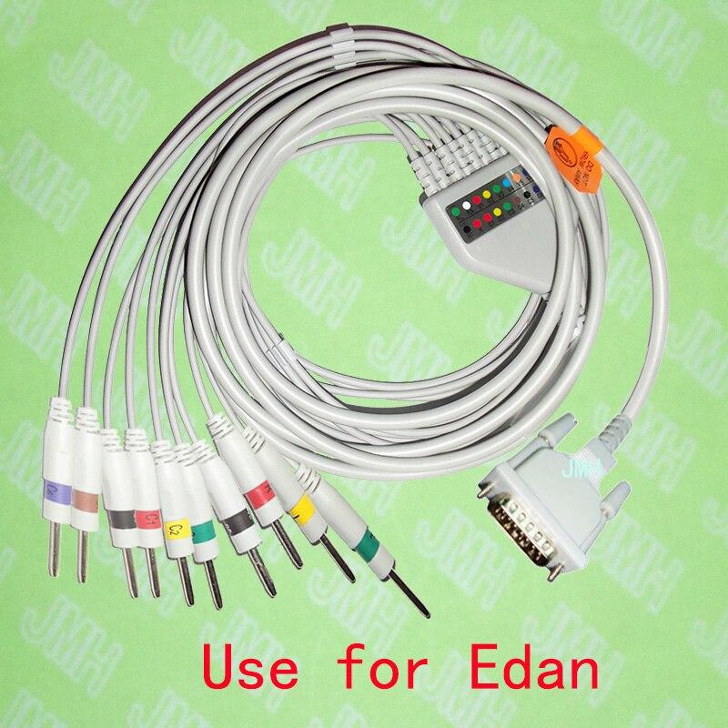 Compatible avec la Machine EKG EDAN SE-1/SE-3/SE-601A, le câble ECG 10 fils monobloc et les fils de plomb 3.0DIN, IEC ou AHA.