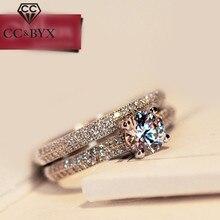 CC Ювелирные изделия из стерлингового серебра двойные кольца для женщин классический Штабелируемый свадебный набор обручальное кольцо Мода Anillo CC634