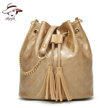 2018 New Fashion PU Leather Bucket Ladies Tassel Totes Chain Gril's Commuter Bag  Women Handbags Summer Day Clutch Small Purse