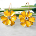 Navachi Yellow Enamel Flower  Yellow Gold Plated Clear Crystal Rhinestone Hoop Hook Free Shipping Dangle Earrings SMT2817