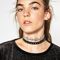 Fashion ZA New Leather Rope Crystal Simple Style Double Chain Necklaces & Luxury Rhinestones Collar Choker Necklace 8775