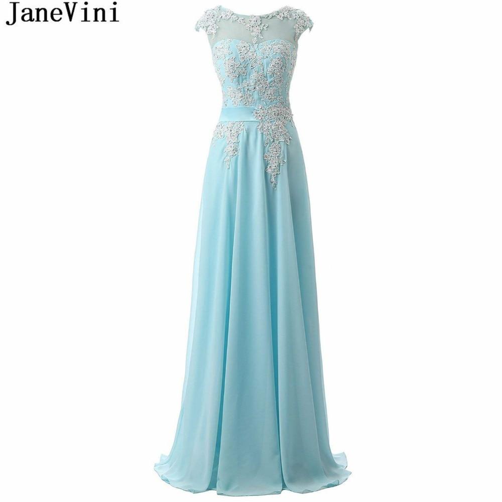 JaneVini Elegant Sky Blue Chiffon Long   Bridesmaid     Dresses   A-Line Lace Applique Sequins Backless Floor Length Wedding Guest   Dress