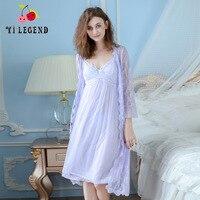 Deep V Neck Women Lace Gauze Nightgown Lace Sleepwear Half Sleeve Ladies Silk Nightwear Sleep Wear Night Gown Dress + Outwear