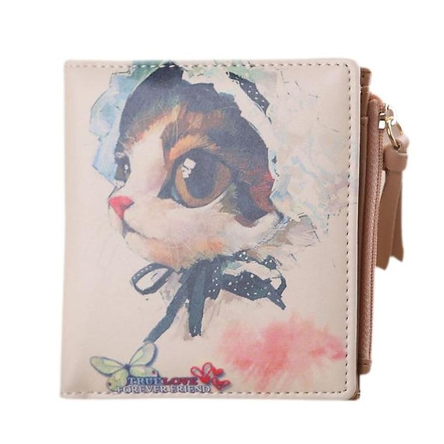 Fashion New Brand Women Vintage Cat Coin Clip Purses High Quality Zipper Short Wallets Cute Clutch Handbags wallets women S