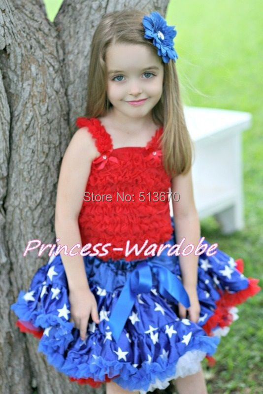 4TH JULY Red White Blue Patriotic Star Flag Pettiskirt Red Ruffle Top Set 1-8Y MAMG1139 red black 8 layered pettiskirt red sparkle number ruffle red bow tank top mamg575