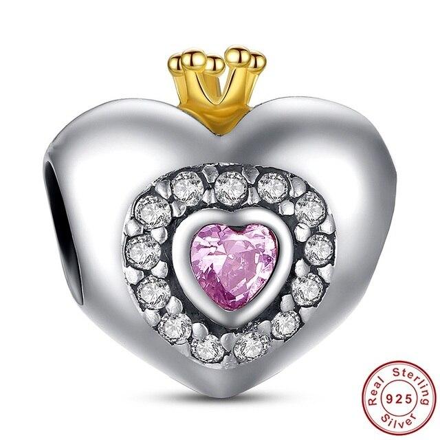 Pandora Style Heart Shape Charm Beads