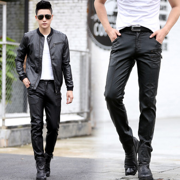 Plus Size M-5XL Men Leather Pants Black Casual Motorcycle PU Leather Pencil Pants Male Trousers 2018 Spring Autumn High Quality 2