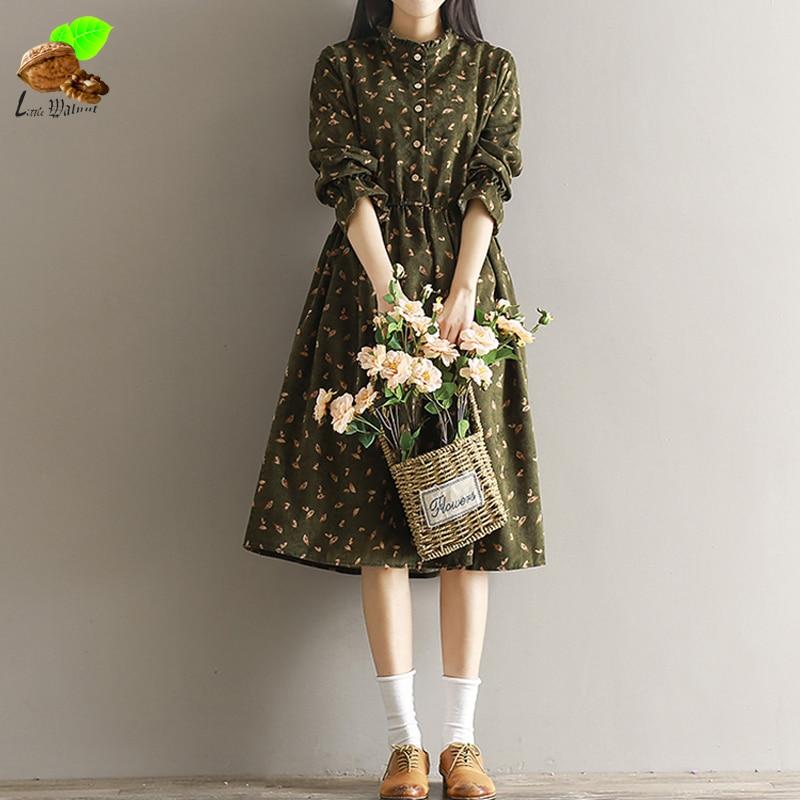 Women Autumn Fashion Casual 100% Cotton Clothing Mori Vintage Loose Style Corduroy Print Floral Cute Long Sleeve Blue Dress