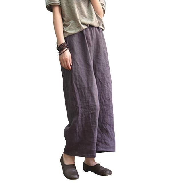 2018 Women Vintage Cotton Linen Solid high Waist Wide Leg Pants Ladies Casual Loose Elastic Waist Ankle-Length Long Trousers