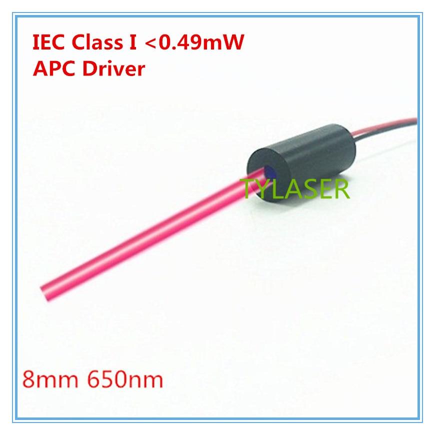 IEC Class I  0.5mw  8mm 650nm  Red Dot Laser Module Industrial Grade APC Driver