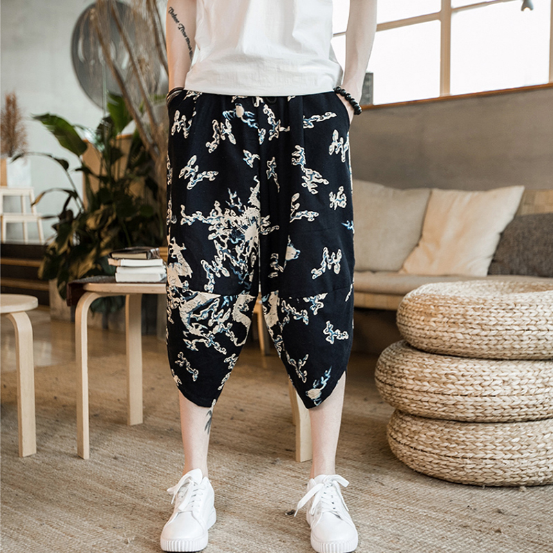Повседневные мужские брюки с забавным принтом, хлопковые мужские брюки на осень и весну серого цвета, спортивные брюки больших размеров, черные брюки в китайском стиле - Цвет: color3