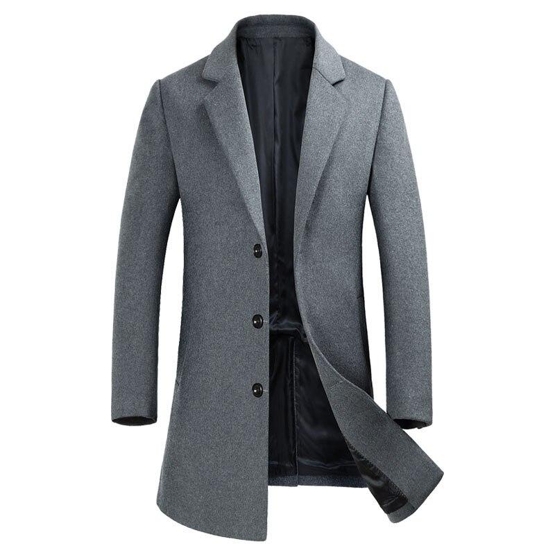 2018 Marke Winter Wolle Herren Mantel Mode Schlanke Männlichen Casual Business Lange Pea Coat Männer Lange Jacke Mantel Manteau Homme Af1889