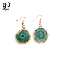 BOJIU Natural Druzy Stone Fish Hook Earrings For Women Trendy Green Purple Blue Drusy Pendant Gold Copper Drop Dangle Ring EA055