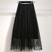 YICIYA black Plus size mesh polka Dot skirts midi for women tutu skirt 2019 summer loose elegant female pink vintage clothing