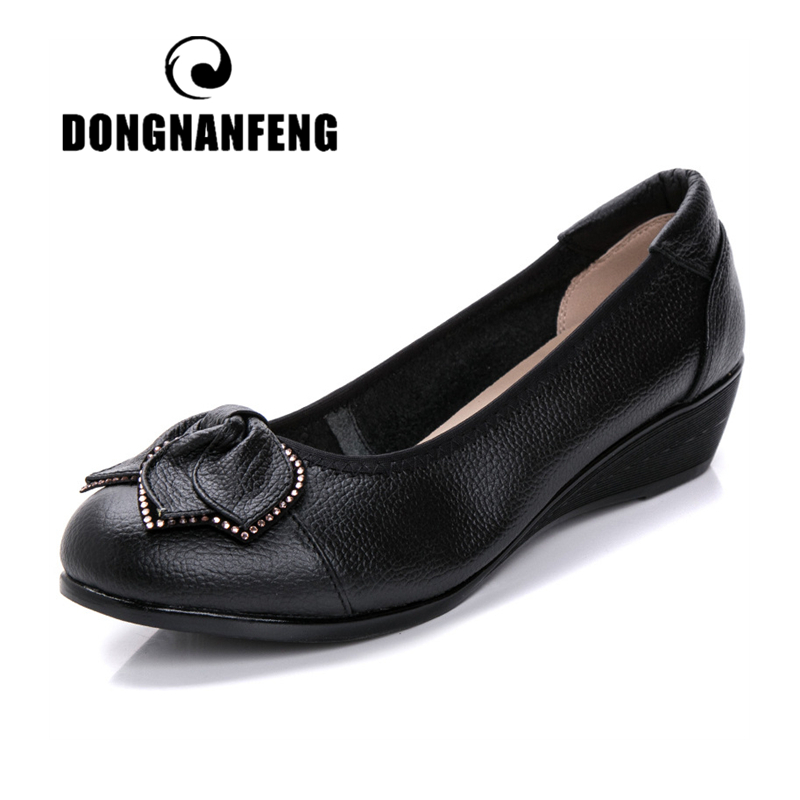 DONGNANFENG Women Mother Old Shoes Flats Loafers Cow Genuine Leather Pigskin Rubber Suede Slip On Bowknot Casual 34-43 HC-1107