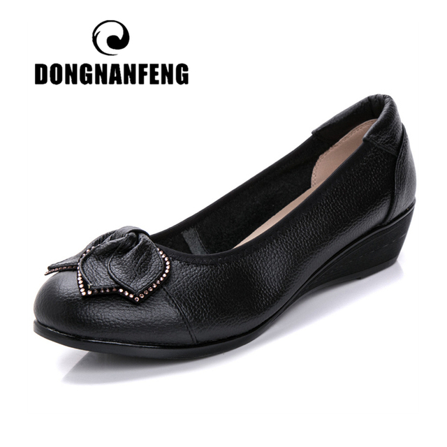 DONGNANFENG Women Mother Old Shoes Flats Loafers Cow Genuine Leather Pigskin Rubber Suede Slip On Bowknot Casual 34 43 HC 1107