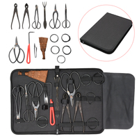 10Pcs Bonsai Tool Set Carbon Steel Extensive Cutter Scissors Kit With Nylon Case For Garden Pruning Implements