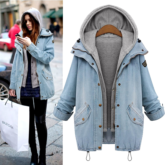071f9f9f60ca0 2Pcs Women Denim Jacket 2017 Autumn Plus Size Winter Long Sleeve Hooded  Jeans Coats Fashion Loose Female Women s Bomber Jacket