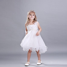 Summer Girls kids Dress Party Formal Clothes White Lace Princess Party Wedding Formal Beatiful Dress Pearl Kids Clothes Meninas