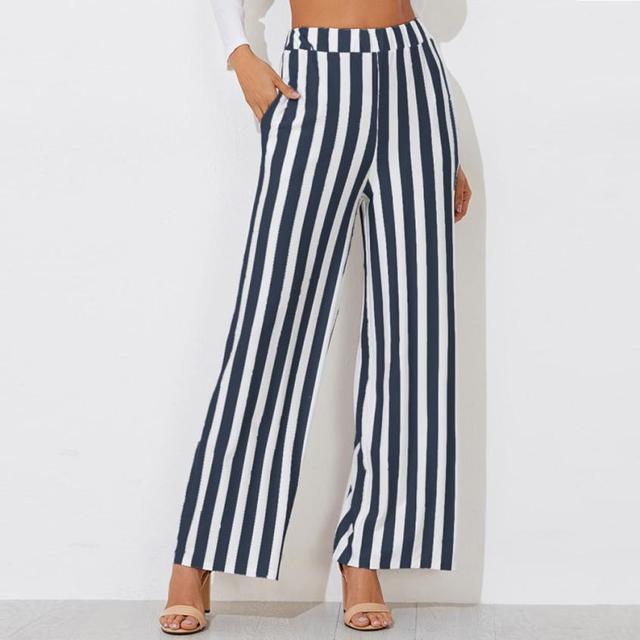 Feitong штаны свободного кроя Для женщин Повседневное Новая мода полосой печати широкие брюки ноги элегантные Для женщин s брюки Высокая талия широкие штаны