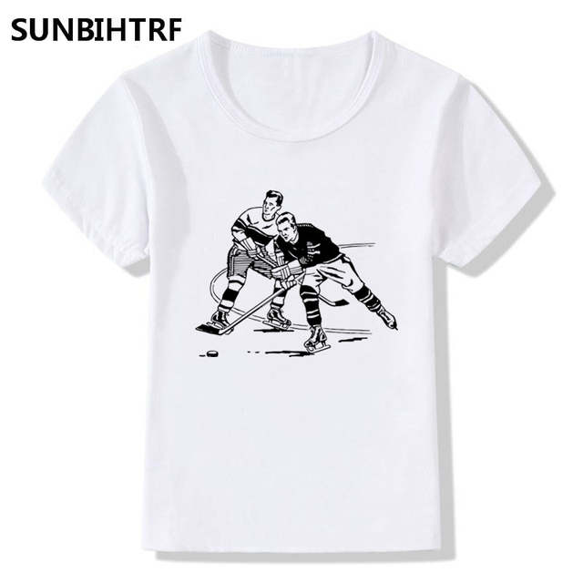 4a303e86 US $3.55  Summer Tops Children's Tees Ice Hockey Print Fashion T Shirts Big  Girls/Boys Short Sleeve T Shirt Baby Casual Kids Clothes-in T-Shirts from  ...