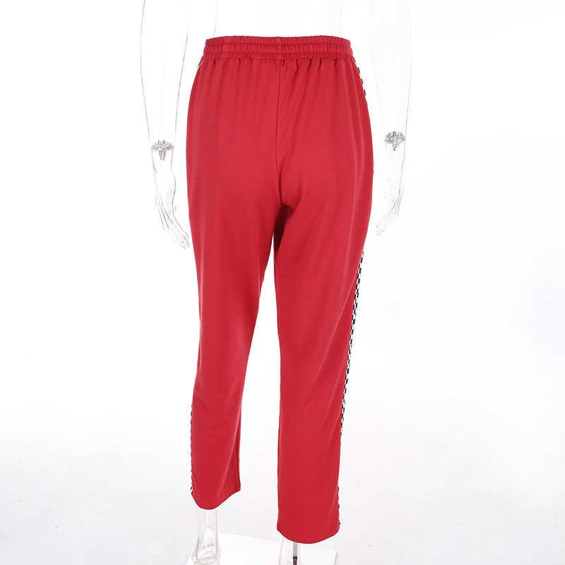 Женские брюки в клетку с эластичной резинкой на талии, прямые спортивные брюки, джоггеры, широкие брюки, клетчатые спортивные штаны, красные брюки