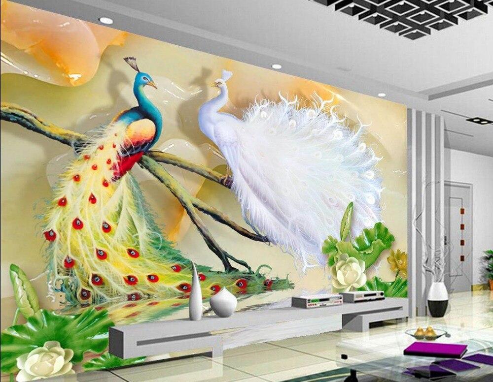 Custom 3d mural wallpaper tv backdrop lotus peacock for 3d mural wallpaper