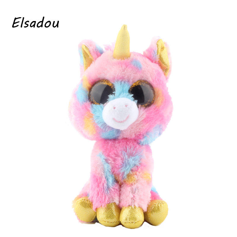 Elsadou Ty Beanie Boos Stuffed & Plush Animals Pink Unicorn Doll Toys For Children ty collection beanie boos kids plush toys big eyes slick brown fox lovely children gifts kawaii stuffed animals dolls cute toys