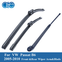 VW Passat B6 3C Estate Variant Front Rear Wiper Arm And Blade Set Natural Rubber Windshield