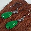 Малайский Нефрита Серьги natural green повелительница ювелирные изделия подарочные Серьги