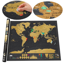Free shipping Deluxe Black Scratch Off Map World Best Decor School Office Stationery Supplies