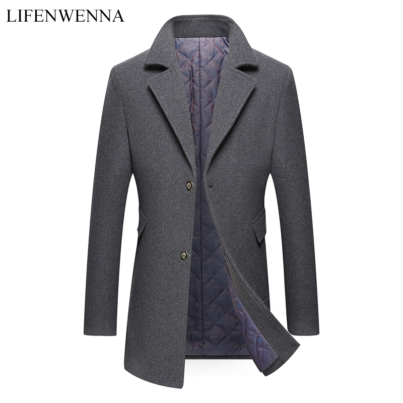Casual Autumn Men's Woolen Coat 2019 New Arrival Solid Single Breasted Trench Coat Men Slim Fit Business Wool Jacket Male 1789(China)