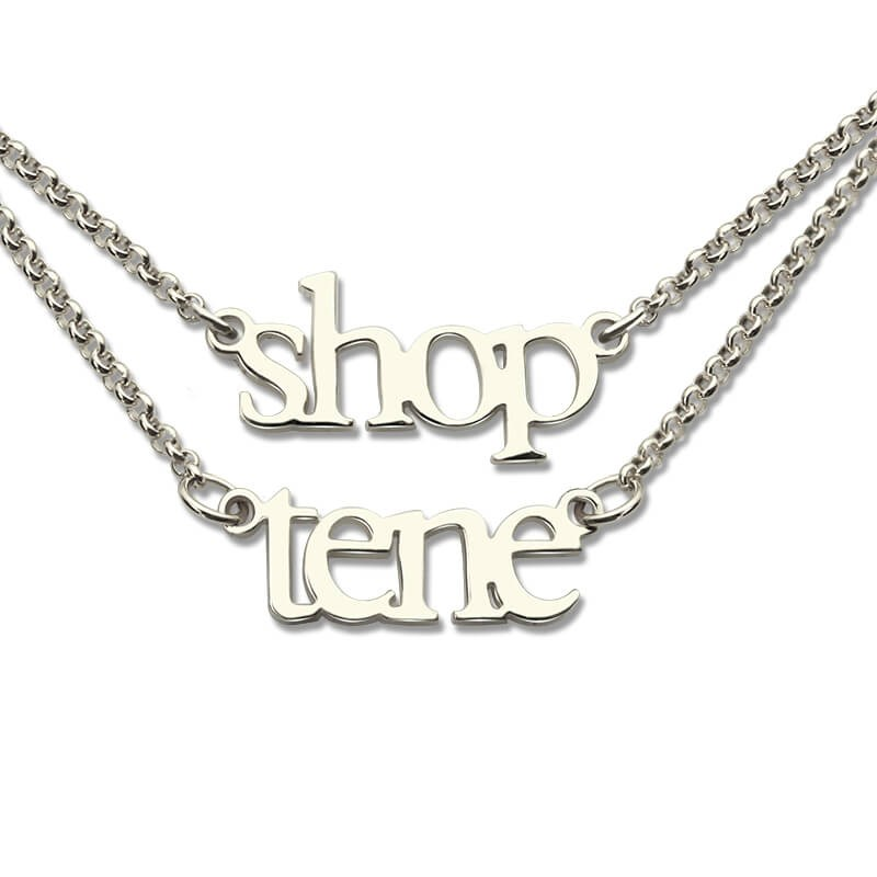 Custom Double Layers Mini 2 Names Necklaces Personalized Name Nameplate Chain Layered Necklace Sterling Silver Bijoux  for Lover