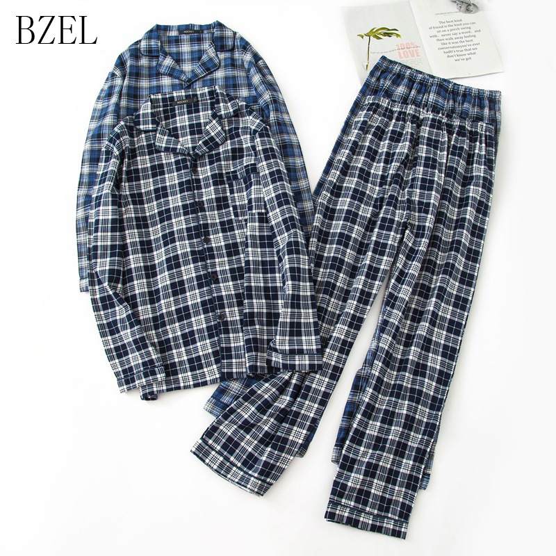 BZEL Man Sleepwear Pajama-Set Cotton Plaid Men Pants Tops Turn-Down-Collar 2PCS