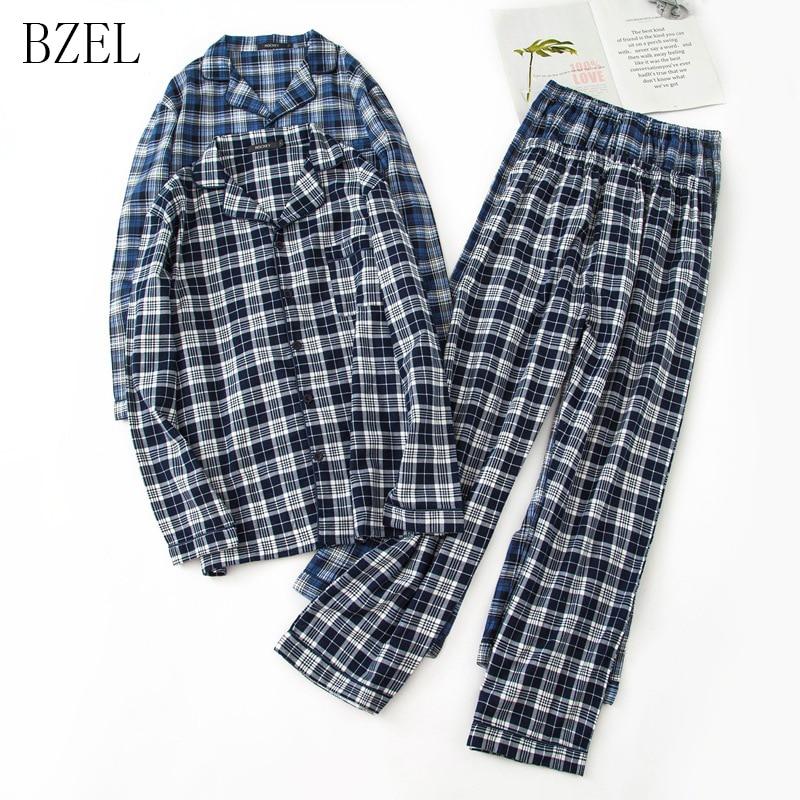 BZEL Long Sleeve Pajama Set Cotton Man Sleepwear Plaid Pyjamas Turn-down Collar Homewear Tops+Pants Pijama Men Sleep Lounge 2PCS