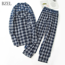 BZEL Long Sleeve Pajama Set Cotton Man Sleepwear Plaid Pyjamas Turn-down Collar Homewear Tops+Pants