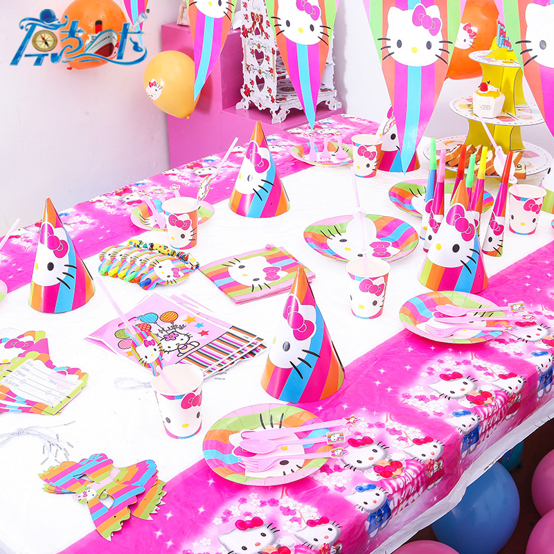 New Sale Hello Kitty Theme Cup+Plate+Gift Bag Festival Mask+Trumpet Child Birthday Party Cocked Hat Decoration Supply 107Pcs/lot