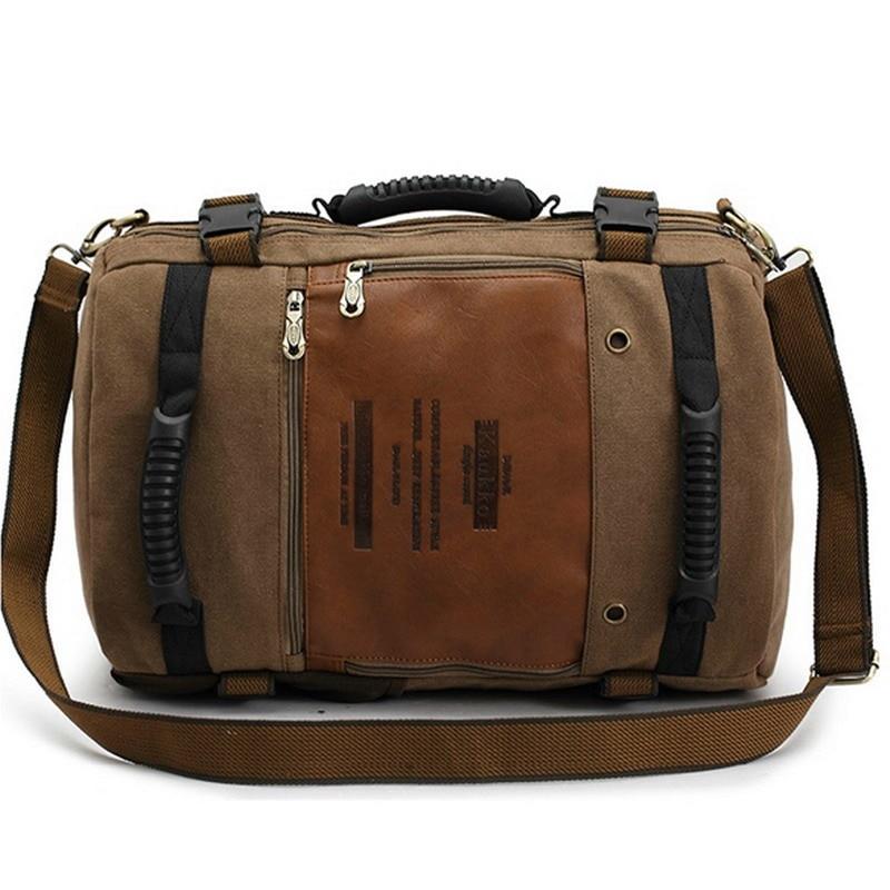 Men Multi Function Canvas Backpack Male Messenger Shoulder Bag Large Capacity Laptop Travel Backpack for Men