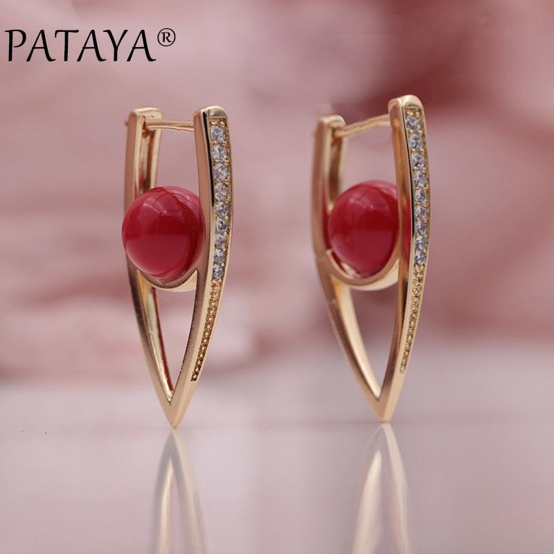 PATAYA nouveau 585 or Rose Micro-cire incrustation naturel Zircon multicolore coquille perles Unique boucles d'oreilles femmes mariage fête Fine bijoux