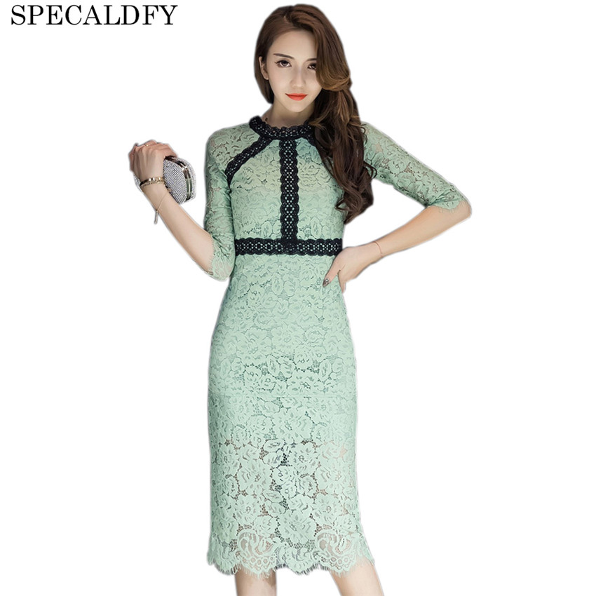 Summer Sexy Bodycon Dress Women Half Sleeve Patchwork Hollow Out Lace Desses For Ladies Elegant Office Dress Party Robe Femme