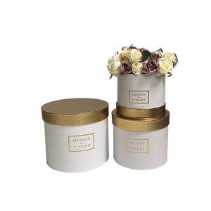 Image 3 - Boîte ronde avec couverture de couleur dorée pour fleuriste, coffret cadeau pour thanksgiving de noël, nouveau design 2020