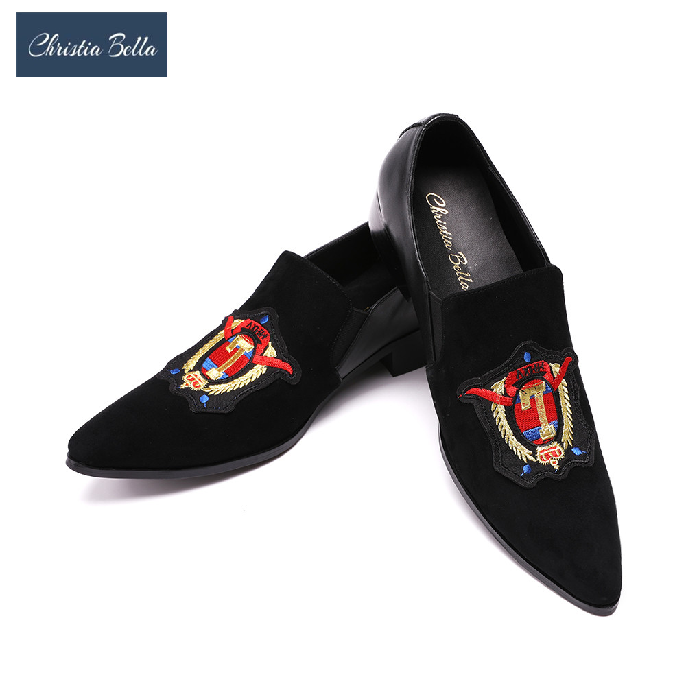 Christia Bella Luxury Fashion Exquisite Embroidered Smoking Slippers Slip On Mens Loafers Black Party Wedding Shoes Men's Flats new black embroidery loafers men luxury velvet smoking slippers british mens casual boat shoes slip on flat shoes espadrilles
