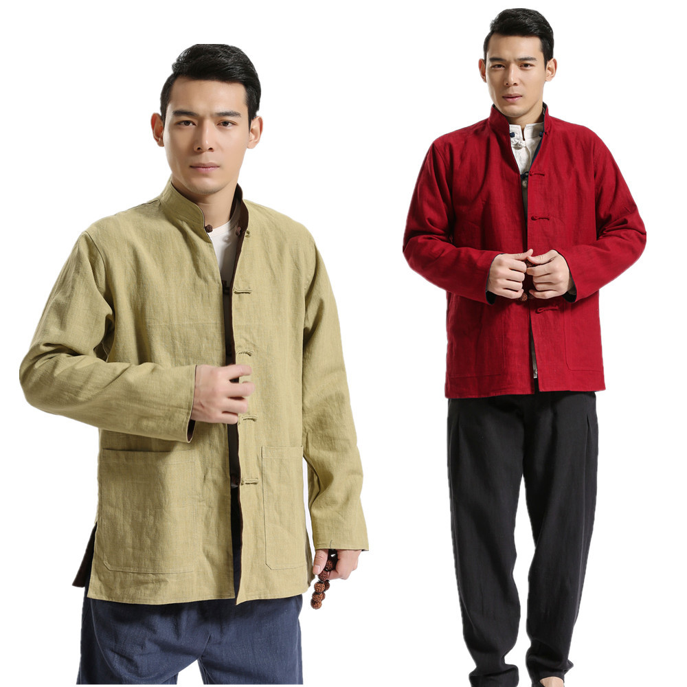 2019 Spring Autumn Chinese Style high quality Pure linen men's reversible outer coat casual mandarin coat jacket